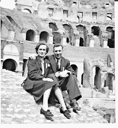 Hilda und Bernhard Scherer 1950 auf Hochzeitsreise in Rom.