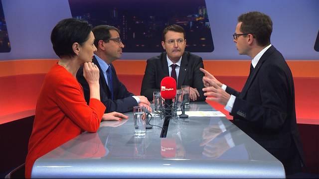Elefantenrunde mit Parteipräsidenten Marianne Binder (CVP), Matthias Jauslin (FDP) und Thomas Burgherr (SVP)