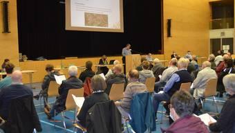 Gemeinderat Ivano Colomberotto erläutert den Kreditantrag für die Erneuerung der Wasserleitung Wald- und Rütenenweg.