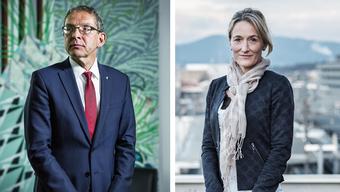 Die beiden Regierungsräte: Urs Hofmann (links) und Susanne Hochuli (rechts)