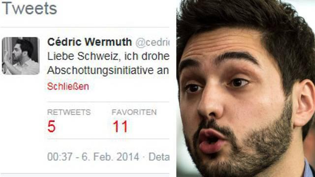 Cédric Wermuth «droht»: «Liebe Schweiz, ich drohe selten, aber es muss sein: Wenn die Abschottungsinitiative angenommen wird komme ich wieder nach Hause.»