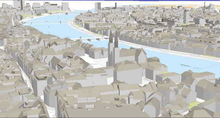 3D-Modell mit Blick auf das Münster.