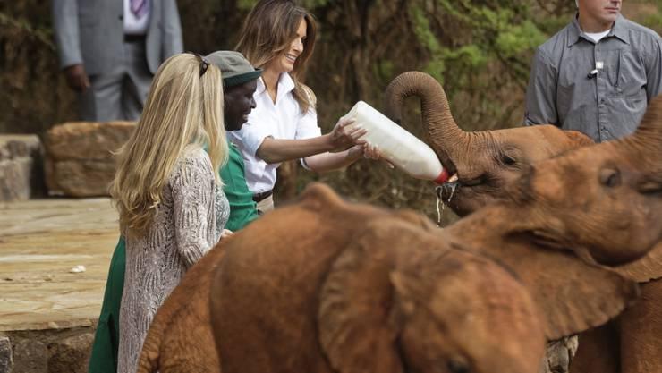 US-First Lady Melania Trump hat in Kenia elternlosen Elefantenbabys besucht.