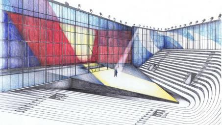 Bühnenbildskizze zu Verdis «Il Trovatore» im Gartencenter Zulauf.  ZVG