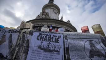 Gedenken an die Opfer des Charlie Hebdo-Massaker am Place de la Republique.