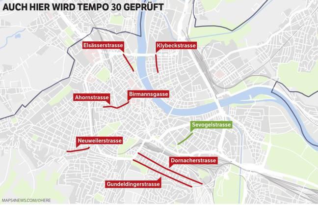 Diese sieben verkehrsorientierten Strassen (rot) nimmt das Amt für Mobilität bezüglich Tempo 30 demnächst unter die Lupe. Für die Sevogelstrasse ist die Prüfung bereits abgeschlossen, die Höchstgeschwindigkeit wird reduziert.