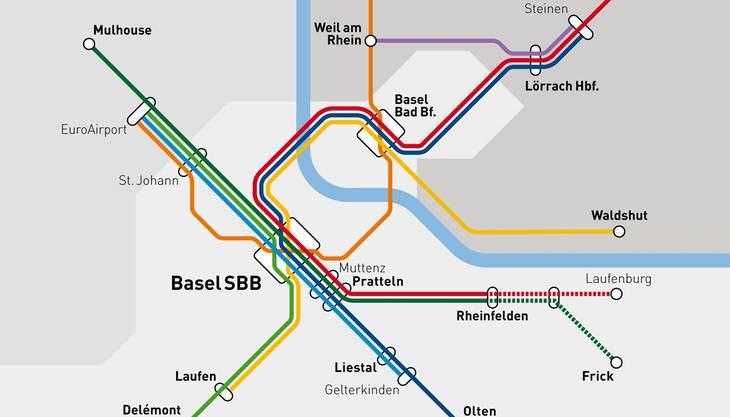 Der Plan der Y-Variante des Herzstücks Regio-S-Bahn