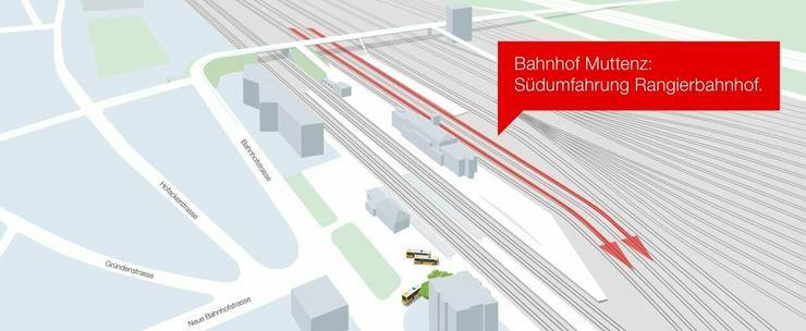 Die Südumfahrung: Im Bereich des Rangierbahnhofs entstehen durch Gleisumbauten zwei neue ca. zwei Kilometer lange Gleise für Güterzüge.