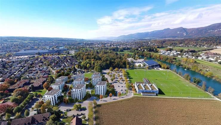 Im Vordergrund links sieht man auf dieser Illustration die neun Wohnblöcke der Überbauung Volaare. zvg