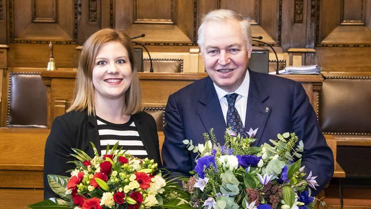 Heiner Vischer ist neuer Basler Grossratspräsident, Salome Hofer, die neue Statthalterin.