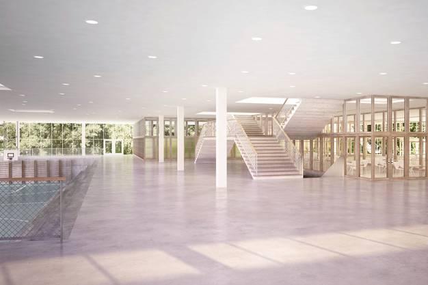 Visualisierung Erdgeschoss der Schulanlage Freilager