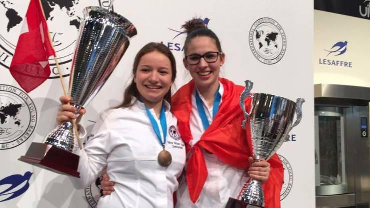 Nina Vogel (links) aus Maienfeld GR und Angela Bissegger aus Spiez BE haben in einem Wettbewerb für junge Bäckerinnen und Bäcker abgeräumt.
