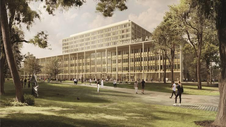 Läuft alles nach Plan, wird das Spital 2024 eröffnet: Blick auf den Haupteingang vom Parkhaus aus. (Visualisierung)