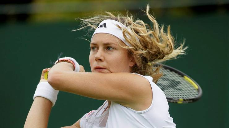 Stefanie Vögele während ihrer Erstrundenpartie in Wimbledon.