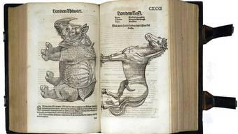 Das «Thierbuch» von Conrad Gessner von 1563: Ein Exemplar des Buches lag jahrelang unbeachtet in einem Brugger Keller.