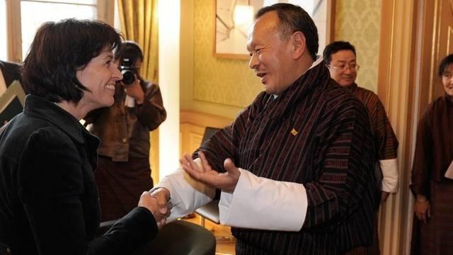 Die Delegation aus Bhutan beim Höflichkeitsbesuch bei Bundespräsidentin Doris Leuthard