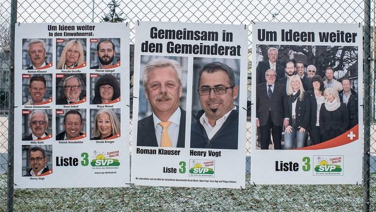 Mit Plakaten weibelt die SVP Allschwil um die Gunst der Wähler für die Gemeinderatswahlen am 28. Februar.
