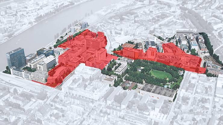 Nachdem ein privater Investor die Grundstücke der Novartis kaufte, hat auch die BASF einen Käufer für ihre Areale auf dem Klybeck-Areal (rot markiert) gefunden.