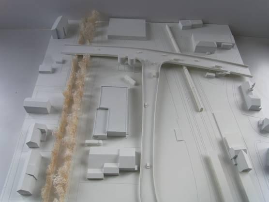Blick nach Westen: Der geplante Werkhof zwischen Dünnern und ERO im Modell.