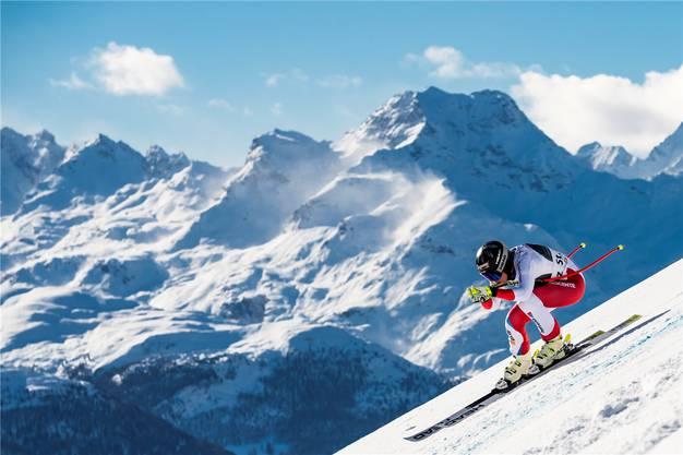 Sonnenstrahlen mit etwas Wind in St.Moritz: Lara Gut-Behrami nutzt die Bedingungen im Super-G für sich aus und fährt auf Rang 2. Einer von bloss zwei Podestplätzen letzten Winter.