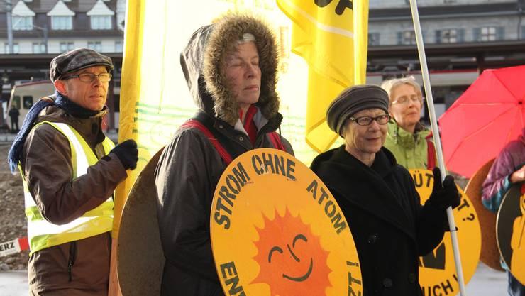 Mahnwache vor dem Ensi-Sitz: Mit Fahnen, Plakaten und Transparenten versammeln sich die Atomkraftgegner vor dem Ensi.