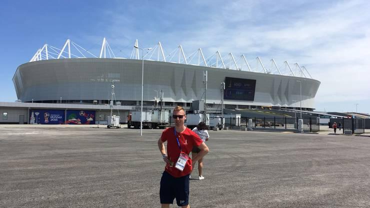 Leonardo Baschung vor dem Stadion in Rostov-On-Don