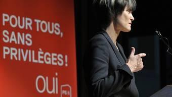 Calmy-Rey bei ihrer Rede in Morges im Kanton Waadt