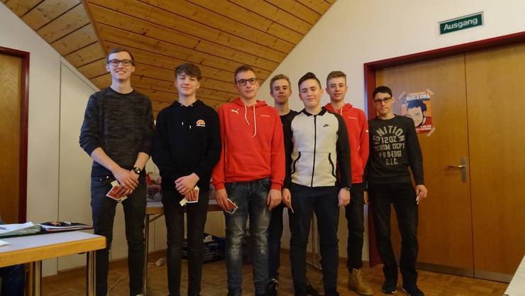 von rechts: Tim Sibold, Jan Wolf, Sven Benz, Ramon Weiss, Dave Obrist, Luca Thomman, Tim Hofmann
