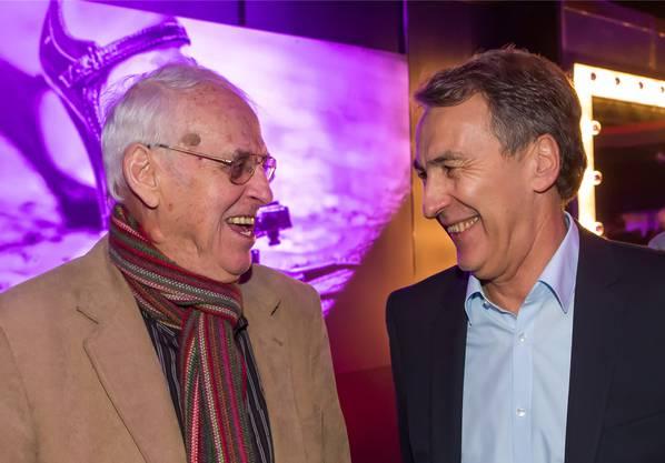 Alt-Politiker Helmut Hubacher (links) mit Fritz Jenny, Direktor des Bürgerspitals Basel.