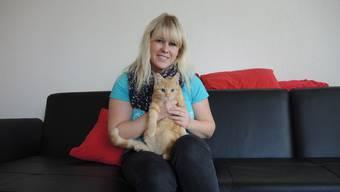 Patricia Leu und ihr Kater Simba.
