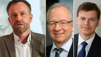 Chefredaktor Markus Spillmann, Verwaltungsratspräsident Etienne Jornod und CEO Veit Dengler (v.l.)