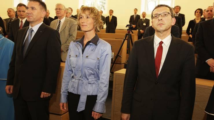 Alex Hürzeler, Susanne Hochuli und Urs Hofmann werden vereidigt.