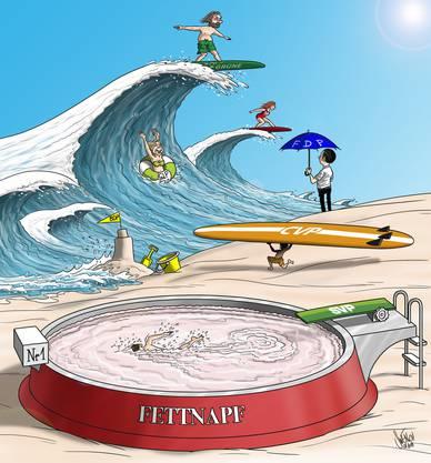 Ausgangslage Nationalratswahlen Aargau: Karikatur von Silvan Wegmann