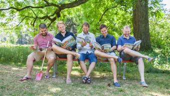 Das Team hinter dem Kinderbuch-Unternehmen Librio: Mark Yasuda, Tim Hess, Oliver Finsterbusch, Ed Russell, Nicholas Elliott.