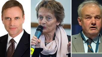 Jean-Pierre Gallati, Fraktionspräsident SVP/AG, Eveline Widmer- Schlumpf, BDP, Christian Wanner, alt Regierungsrat FDP/SO.