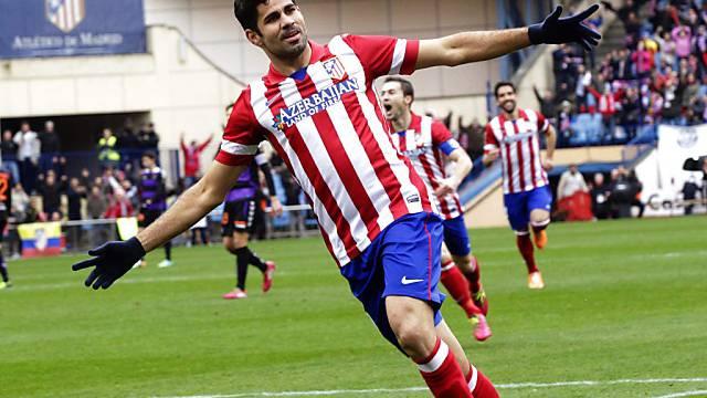 Atleticos Diego Costa feiert seinen Treffer zum 2:0