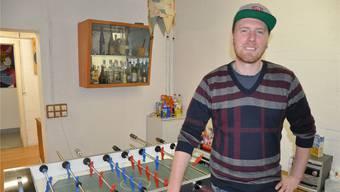 Daniel Morgenthaler in einem privaten Übungskeller. im Raum Aeschenplatz.