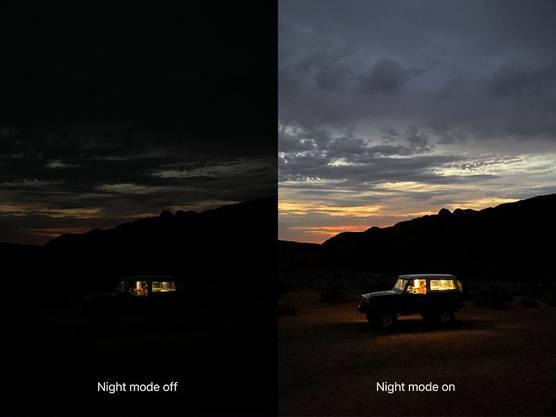 Der Nachtmodus soll bei wenig Licht akzeptable Bilder liefern.