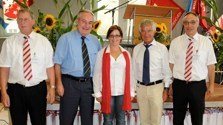 Erwin Studer (OK-Präsident, Olten), Stadtpräsident Boris Banga, Corinne Farine Seematter (OK), Regierungsrat Walter Straumann und René Sauter (OK).