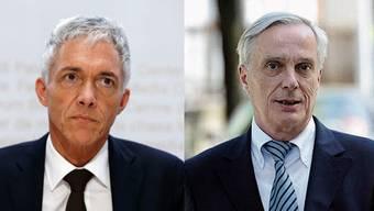 Bundesanwalt Michael Lauber steht unter Druck. Sein Anwalt, Lorenz Erni, betreut etwa auch Sepp Blatter. (Bilder: Keystone, Montage: stg)