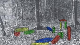 Eine mögliche Station auf dem Holzweg: Überdimensionierte Spielhölzer.