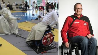 Patrick Hofer im Duell bei einem Turnier des «Cirque national» in Frankreich. Das Logo auf seiner Trainingsjacke (rechts) zeigt zwei Rollstuhlfechter, das Schweizer Kreuz und die Farben von Baden.
