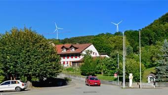 So soll der Windpark Burg (hier: 2 der 5 Windräder) dereinst vom Zentrum Kienbergs aus zu sehen sein.