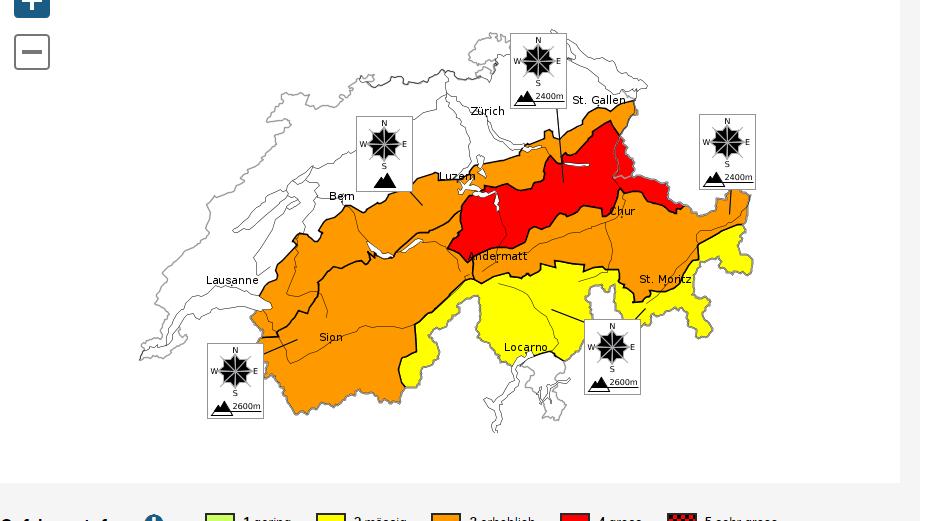 Niederschlag sorgt für grosse Lawinengefahr