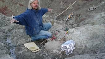 Vom Kanton unterstützt: Ben Pabst bei der Grabung nach Saurierknochen in Frick. (chr)