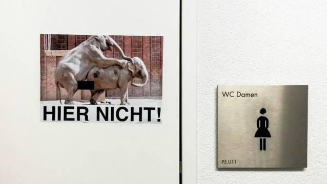 Auch wenn die Hormone verrückt spielen: Dieses Plakat macht nun in der Kantonsschule Wohlen darauf aufmerksam, dass Sex auf dem WC nicht erlaubt ist.
