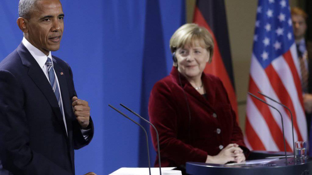 Barack Obama und Angela Merkel am Donnerstag vor den Medien in Berlin.