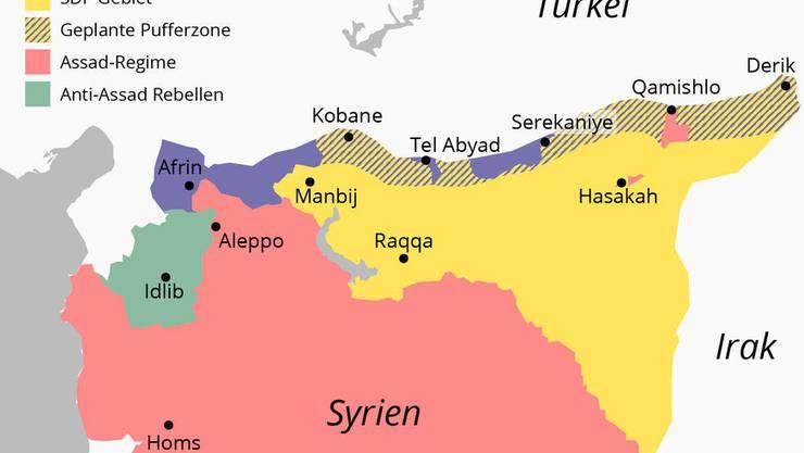 Aktueller Stand der Lage in Nordsyrien am 16. Oktober 2019. (Bild:Kkarte: watson/lea, Quelle: syriancivilwarmap.com)