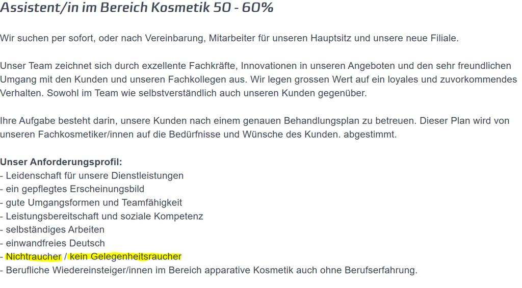 Die Lotus Beauty GmbH sucht ganz spezifisch nach Nichtrauchern. (Screenshot: lotus-spa.ch)
