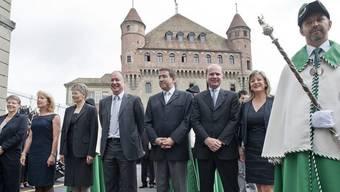 Die Waadtländer Regierung vor der Vereidigung in der Kathedrale